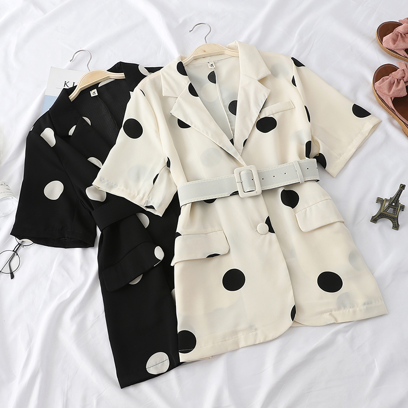 New Summer Elegant Polka Dot Blazers Women Slim Office Lady Sashes Blazer Vintage All-Match Half Sleeve Loose Coats Female Mw677
