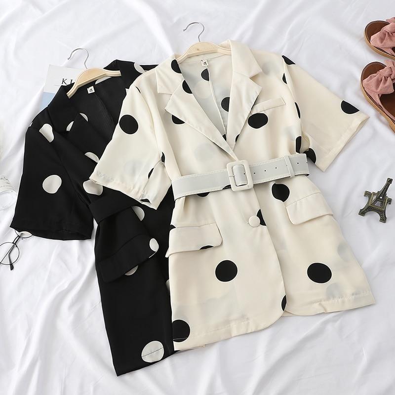New Summer Elegant Polka Dot Blazers Women Slim Office Lady Sashes Blazer Vintage All-Match Half Sleeve Loose Coats Female Mw677