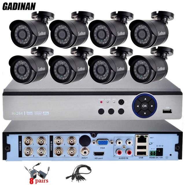 Gadinan 4mp ahd dvr casa 8ch kit cctv ao ar livre com 8 PCS AHD-Q 3MP 2048*1536 Sistema de Segurança Câmera de Vigilância BNC Balun Kit