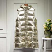 Frauen Lange Weste Jacke Weibliche Glänzende Mädchen Weste Frauen Weste Mantel Winter Streetwear 2019 Neue Mode Oberbekleidung GOLD SILBER