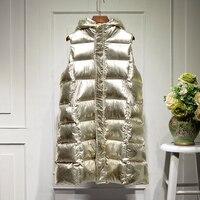 Women Long Vest Jacket Female Shiny Girl Waistcoat Womens Vest Coat Winter Streetwear 2019 New Fashion Outerwear GOLD SILVER