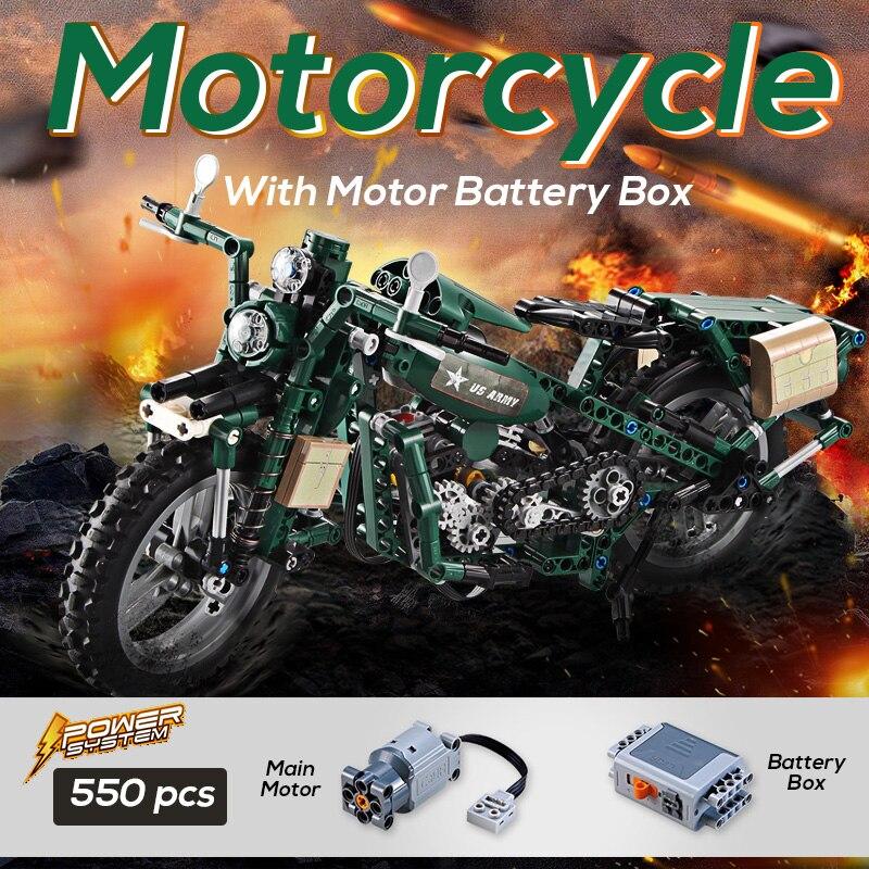 Blocs de construction de moto guerre mondiale seconde armée moteur modèle Legoings briques compatibles ensemble avec moteur batterie boîte jouets pour enfants
