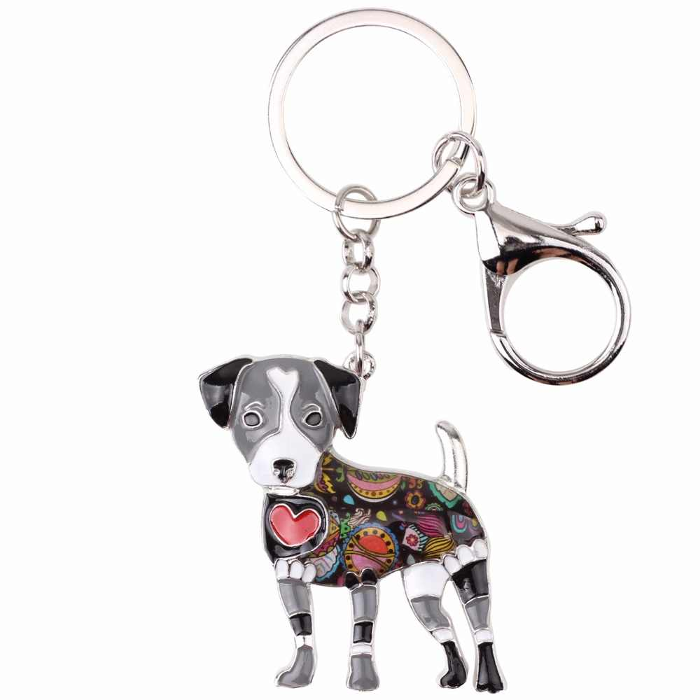 Bonsny esmalte Jack Russell perro llavero Pom regalo para mujer chica bolsa colgante 2017 llavero de moda joyería Animal