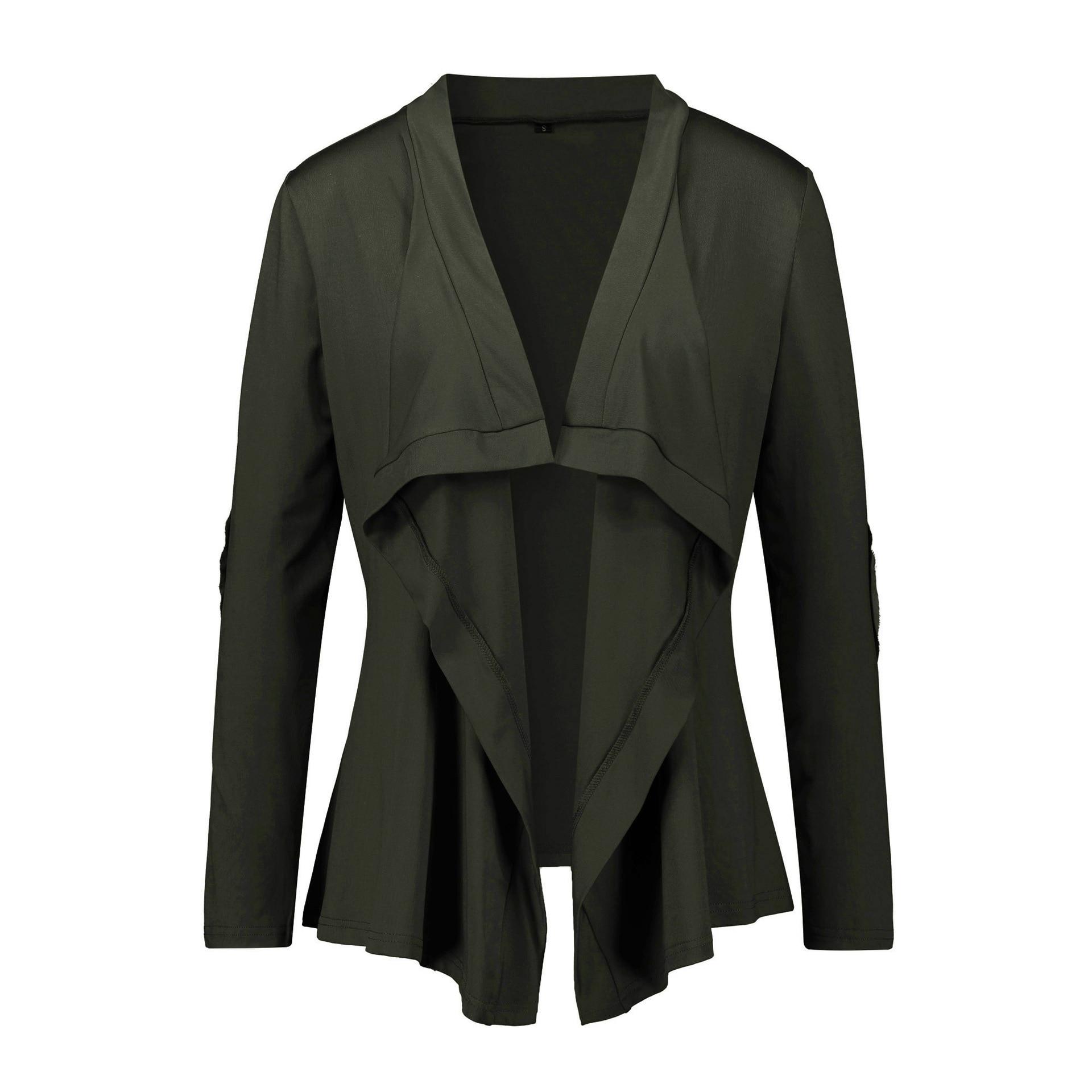 Women's Coat Irregular Solid Long Sleeve Cardigan Loose Casual Autumn   Basic     Jackets   WS4965U