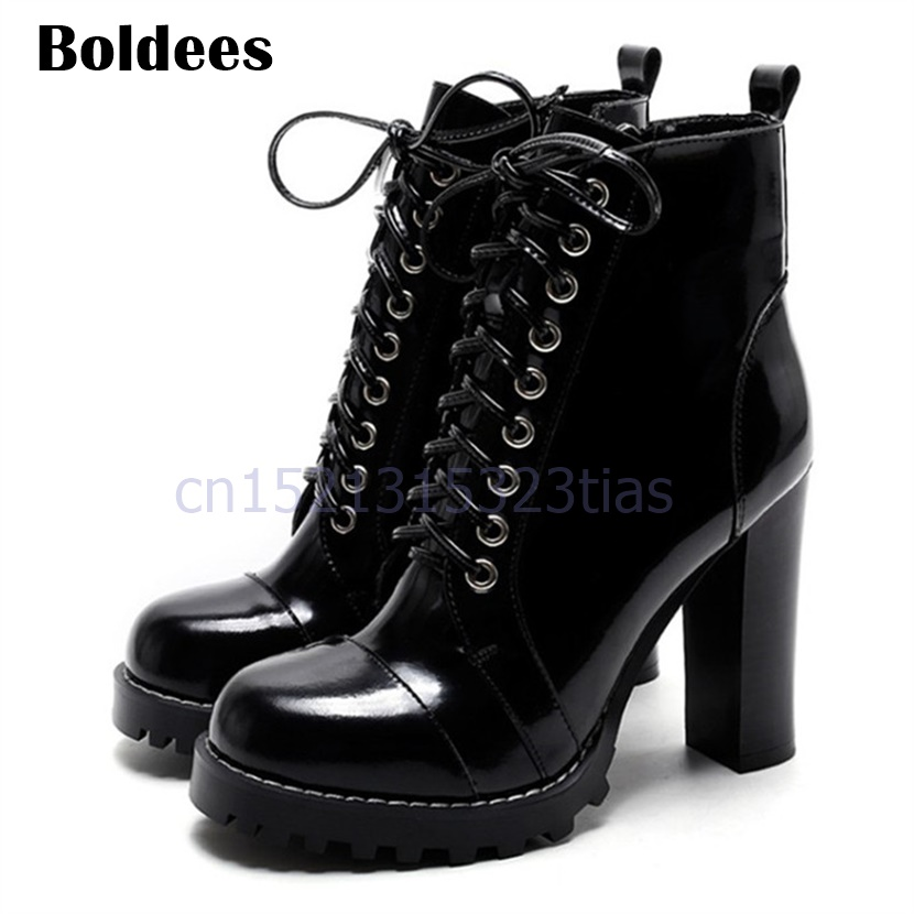 2018 New Fashion Bright Leather Ankle Boots Platform Short Sexy High Heels Shoes Women Pumps Lace Up Botines Mujer 2017 fashion new red horsehair women ankle boots square high heel short booties autumn zip up martin botines mujer women pumps