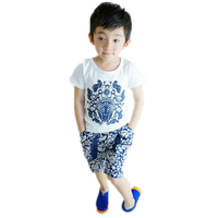 Toddler Boys Clothing 2016 New Summer Baby Boy Clothes Sets Top Blue And White Porcelain Printed