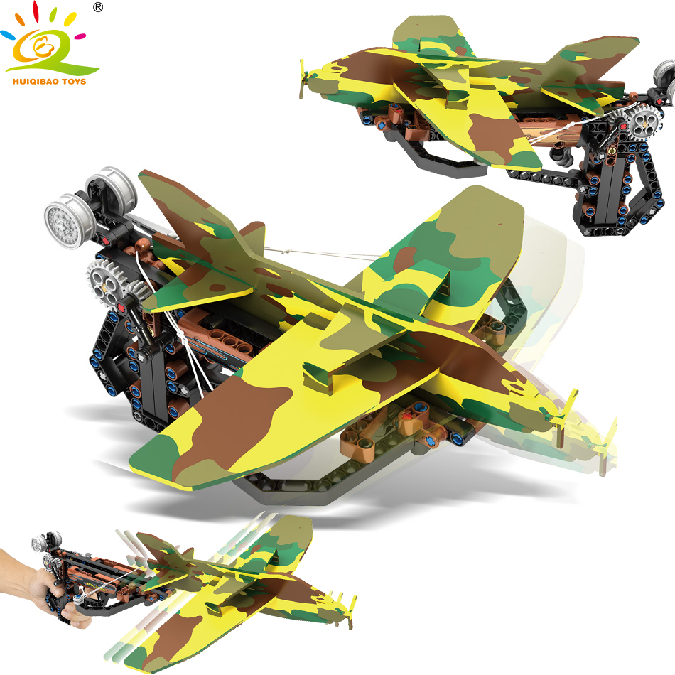212pcs Military Crossbow Launching Paradrop Airplane Building Blocks Legoing Technic PUBG Shoot Toys For Childrec
