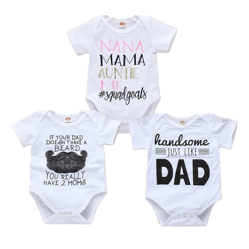 3836bb2aed546 Newborn Onesie Letter Print White Bodysuits Baby Short Sleeve Bodysuit Baby  One Piece Tiny Cottons Summer Baby Girl Boy Clothes