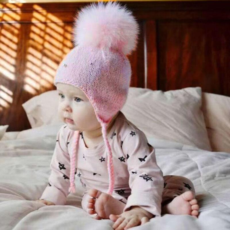 Baby Winter Hat Fur Pompom Caps Bonnet Infant Toddler Boys Girls Knitted Cap Cotton Earflap Hats Warm Kids Beanie Pink White