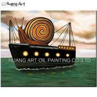 Handmade Snail On Yacht Landscape Oil Painting Modern Pop Seascape Painting For Living Room Decor Home