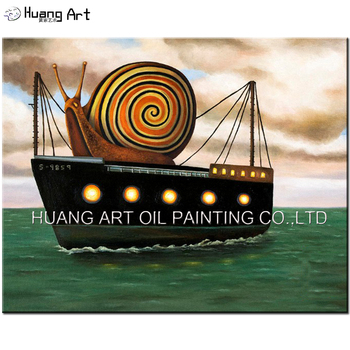 Handmade Snail on Yacht Landscape Oil Painting Modern Pop Seascape Painting for Living Room Decor Home Art Picture