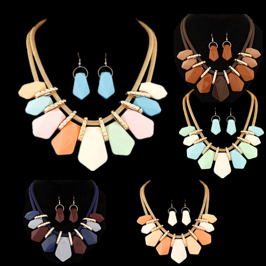 Bib New Hot Fashion Teardrop Jewelry pendant Women Necklace chain Necklace