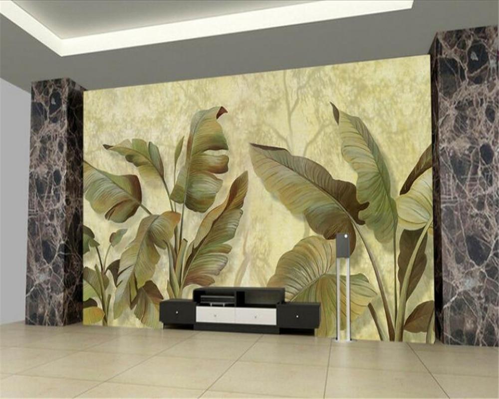 Beibehang 3D Wallpaper Oil Painting Handmade Banana Leaf TV ...