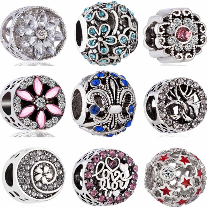 Luxurious Crystal Hollow Flower Star Mickey Mouse Evil Eye Charms Beads Fit Pandora Bracelets for Women DIY Holiday Gift Jewelry