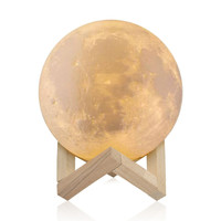 10CM 15CM Rechargeable 3D Print Moon Lamp 2 Color Change Touch Switch Bedroom Bookcase Night Light
