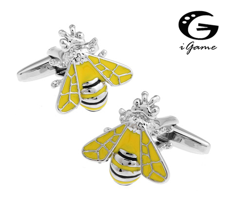 IGame Wasp Cuff Links Retail Unique Bee Design Yellow Painting Free Shipping