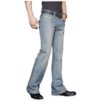 Men S Business Casual Jeans Male Mid Waist Elastic Slim Boot Cut Semi Flared Four Seasons