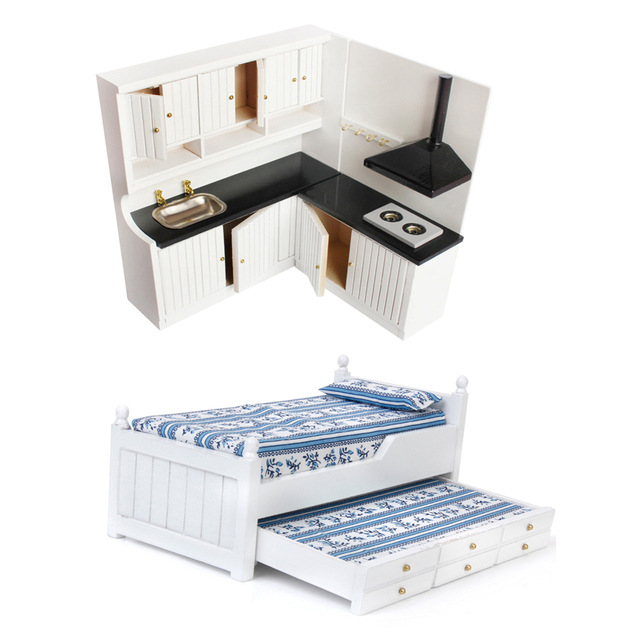 1 12 Scale White Wooden Drawer Bed Queen Bed Cabinet Cupboard