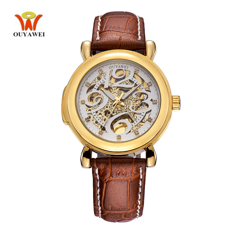 OUYAWE Leather Skeleton Watch Mens Luxury top Quality Men Watches Automatic Mechanical Gold Case Wristwatch horloges mannen horloges mannen qlls mens watches top brand luxury automatic mechanical watch men clock skeleton wristwatch relogio masculino