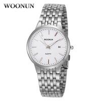 New WOONUN Mens Watches Fashion Casual Quartz Wristwatch Man Stainless Steel Ultra Thin Watch For Men Relogio Masculino