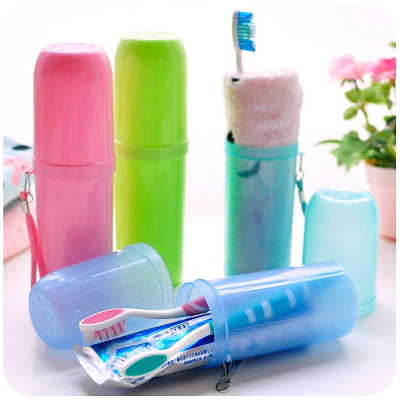 Portable Utility Toothbrush Holder Toothpaste Tower Plastic Tooth Storage Case Cover Cup Bath Outdoor Travel Personal Clean Tool image
