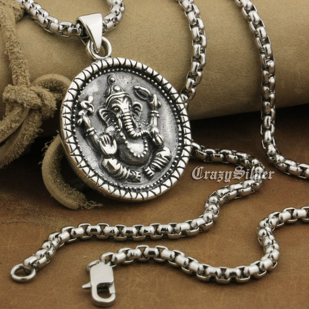 925 Sterling Silver Ganesh Hindu Lord God Pendant Biker Round Pendant 8A039 Stainless Steel Necklace 24 solid 925 sterling silver skull mens biker pendant 8c011 with matching stainless steel necklace