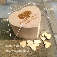 Rustic Wedding Gift Guestbook Personalized Wooden Guest Book Custom Heart Shape Keepsake Box with100pcs Hearts Party Supplies