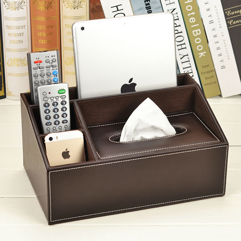 Tissue Box Multifunctional Napkin holder Leather Remote controller storage box Desk organizer Office Desktop Table SJB