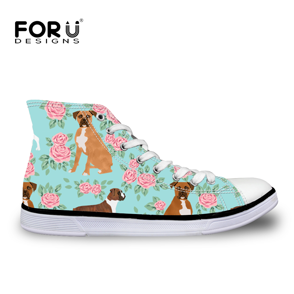 FORUDESIGNS Boxer Dog Printing Women Vulcanize Shoes For Girls Sneaker Women Flat Canvas Shoes Casual Animal