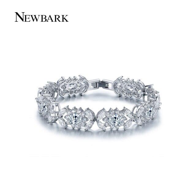 Us 15 65 Newbark 8pcs Ice Flower Bracelet White Gold Plated Bracelets Bangles Round Cubic Zirconia Jewelry Bijoux Christmas Gifts In Strand