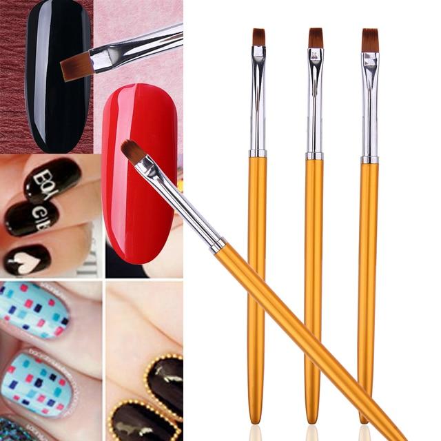 3pcs Nail Art Brushes Fingernail Design UV Gel Nail Polish Painting ...
