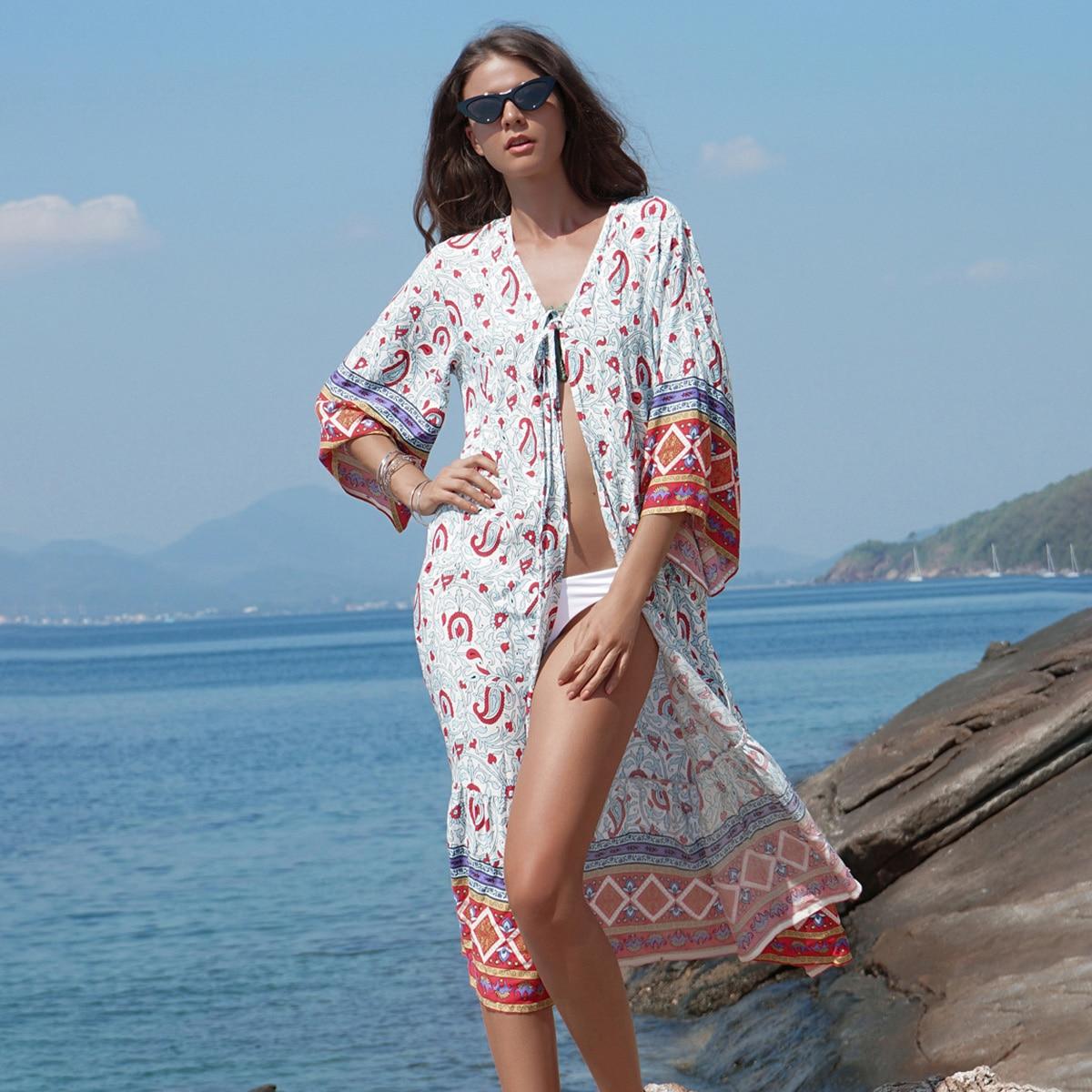 Boho Ethnic Print Long Kimono Women 2019 Summer 3/4 Sleeve Beach Wear