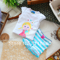 new 2016 summer kids clothes sets baby girls t-shirts + shorts sets child Casual t shirt + Striped shorts Sport Suit