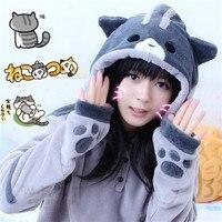 Bán Hot Neko Atsume Kawwii Cosplay Trang Phục Dễ Thương Mèo Dày dễ thương Hoodies Flannel Trùm Đầu Sweatershirts Winter Coat Jacket CS310