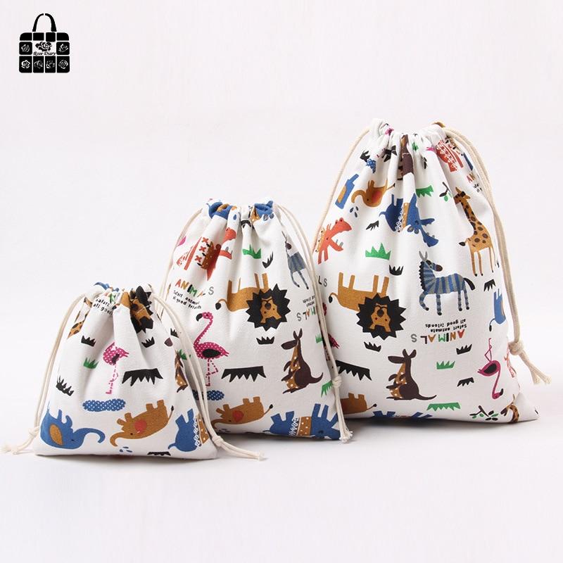 1 Pcs Animal Printed 100%cotton Canvas Dust Cloth Bag Clothes Socks/underwear Shoes Receive Bag Home Sundry Kids Toy Storage Bag