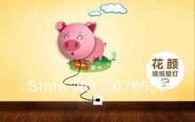 Free Shipping 2014 New Novelty DIY 3D Sticker Wall Paper Lamp Baby Children Bedroom Cartoon Dog Sunflower Pig Night Light