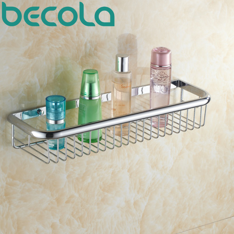ФОТО Free shipping Wall Mounted bathroom shelf Chrome Surface Brass square single tier bathroom basket B-6715