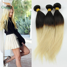 7A Malaysian Omber Human Hair Virgin Straight 3pcs/lot Ombre Malaysian Straight Virgin Hair Bundles 1b/613 Hair Extensions FS321