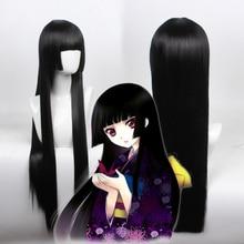 New Jabami Yumeko 80cm Long Anime Hell Girl Enma Ai Straight Black Synthetic Hair Cosplay Wig Heat Resistant Fiber цена 2017