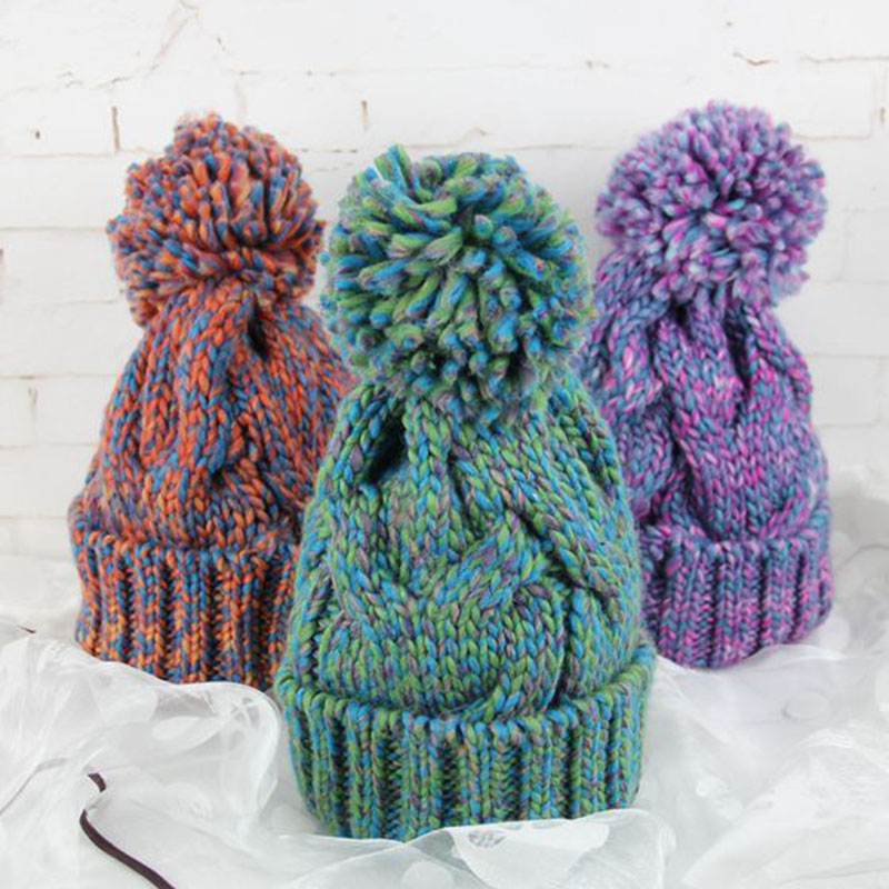 2017 New High-Quality Women Hat Femme Winter Pom Pom Beanies Hats winter Rabbit Fur hat Wool Knitted hats Skullies Bone Gorro
