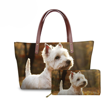 NOISYDESIGNS Ladies Handbags 3D West Highland Terrier Dog Printing Top-Handle Bags Women Luxury Design Hand Female Bolsa