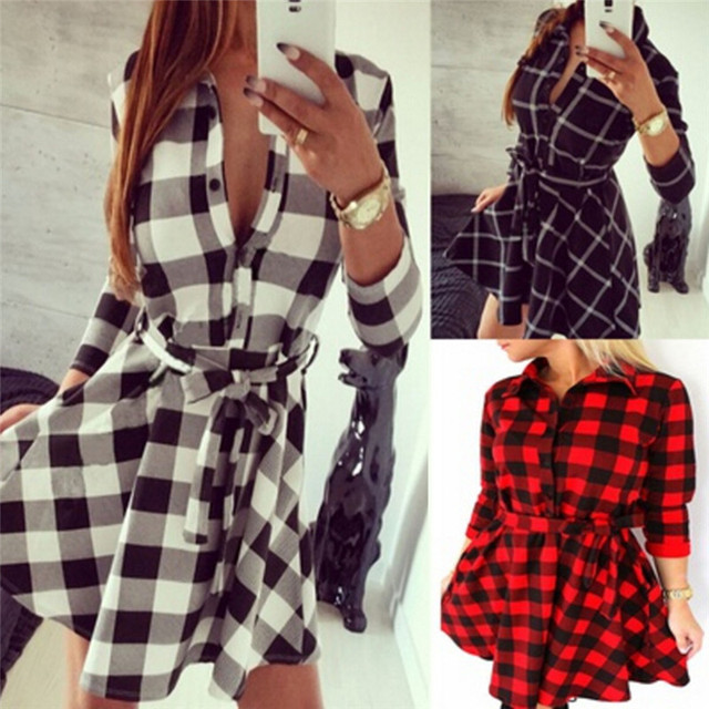Autumn Women Flannel Long Sleeve Shirt Dress Casual Loose Mini Dresses  Plaid Check Lapel Collar Grid 12b6564651b2