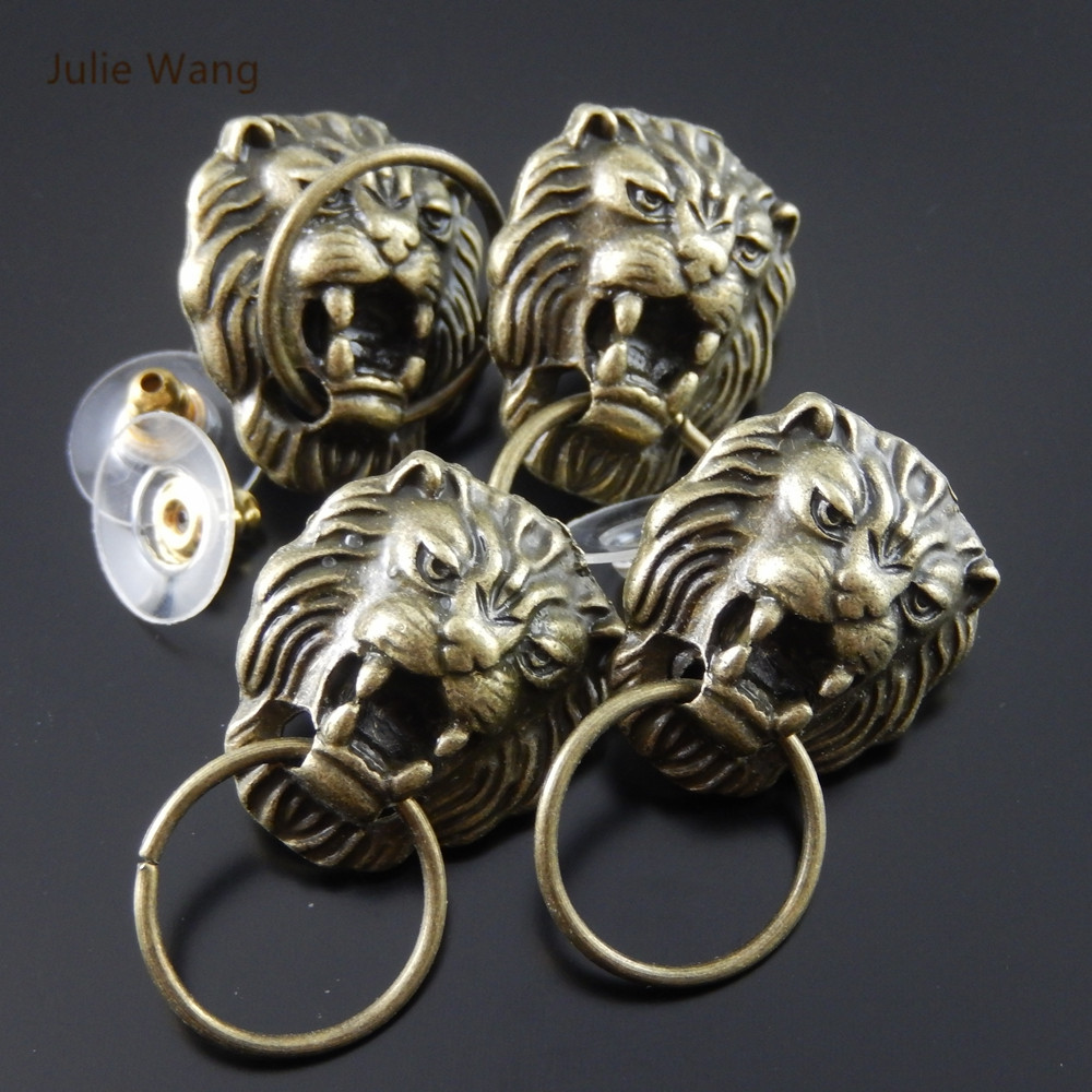 Julie Wang 2/4/6/8PCS Alloy Vintage Bronze Lion Head Shape Earrings With Ear Plugs Men Punk Style Jewelry Decorate Findings