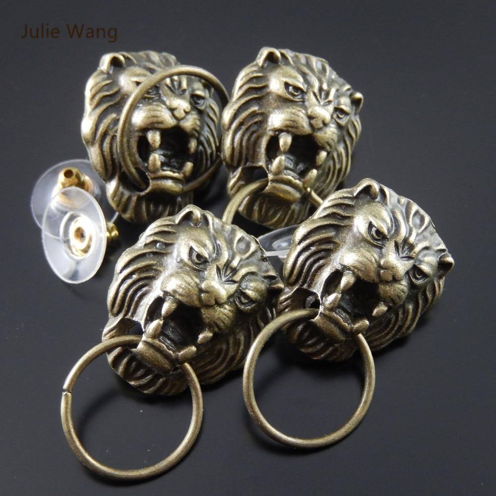 Julie Wang 2/4/6/8PCS Alloy Vintage Bronze Lion Head Shape Earrings With Ear Plugs Men Punk Style Jewelry Decorate Findings ...