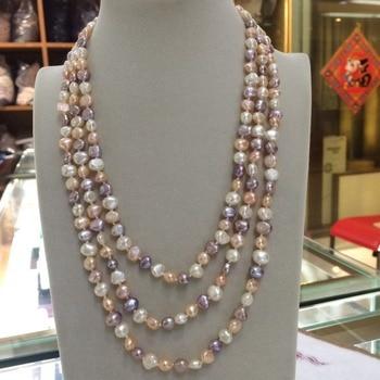 Blanco rosa púrpura perla de agua dulce natural auténtica collar 7-8mm barroco 50 cadena larga suéter