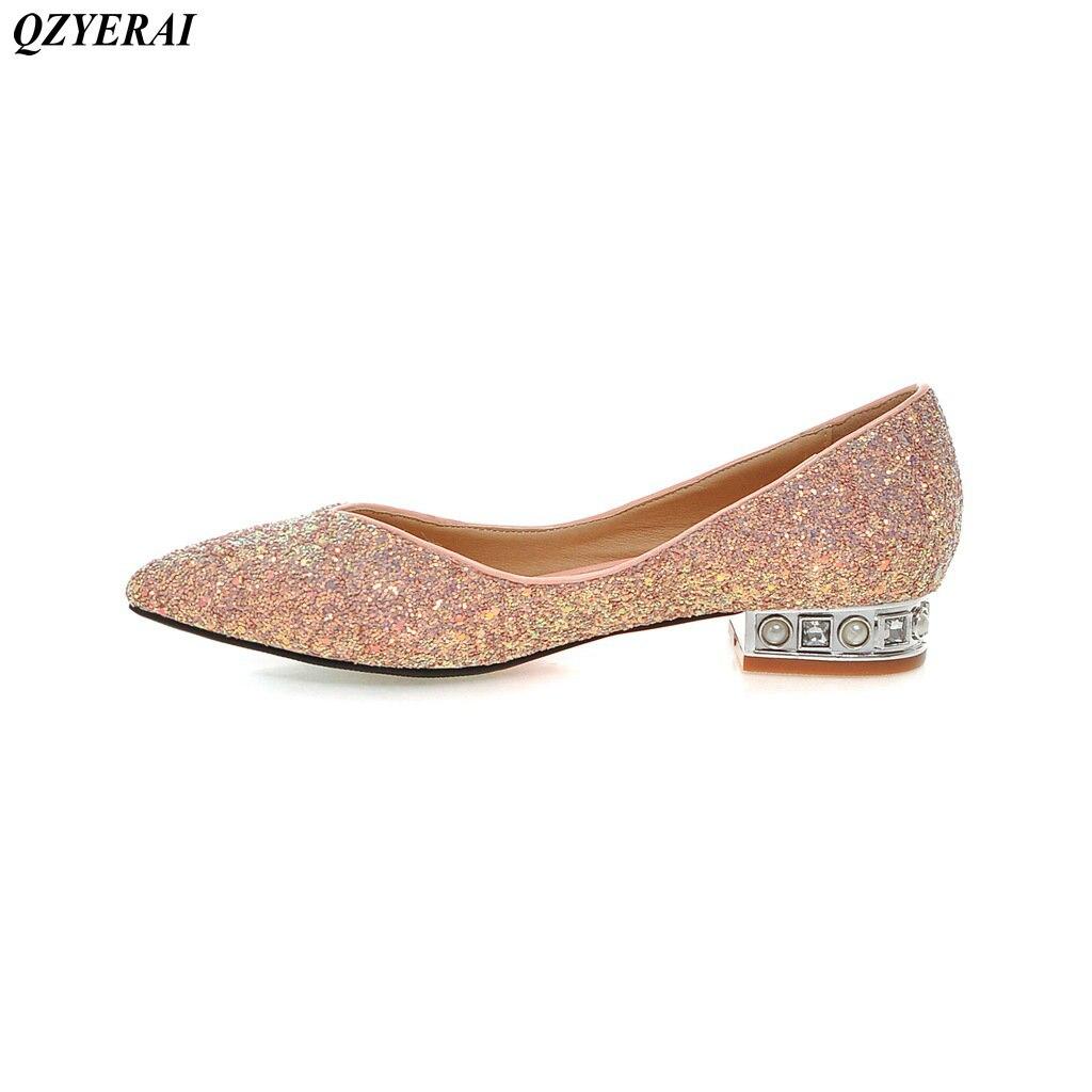 QZYERAI New spring and autumn metal low heel font b women s b font single font
