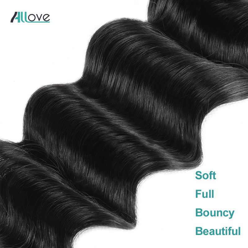Allove, mechones sueltos de onda profunda, mechones de cabello peruano, extensiones de cabello humano 1/3/4, mechones, ofertas, extensiones de pelo ondulado mechones no Remy