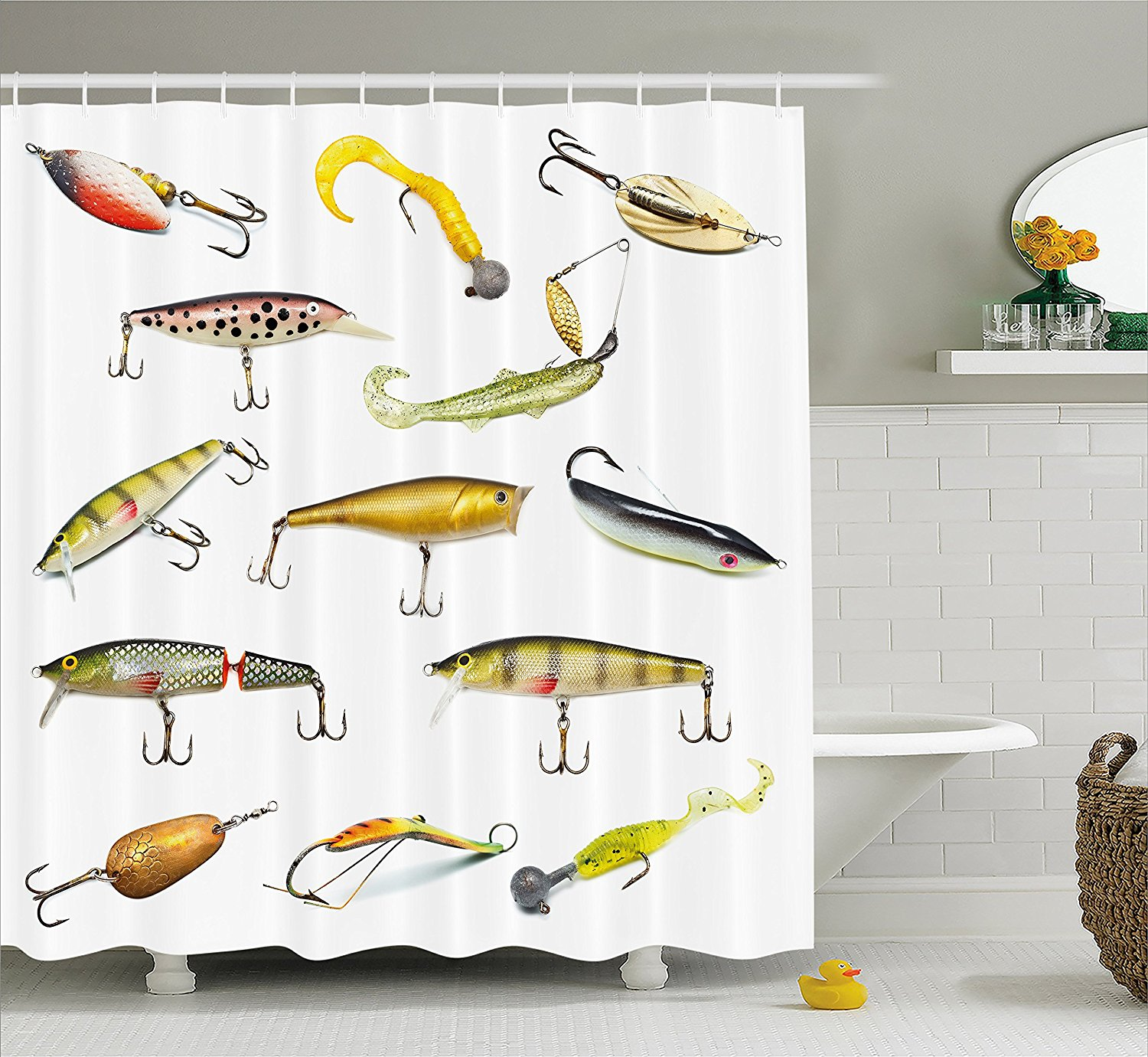 Fishing Decor Shower Curtain Fathers Day Idea Tackle Bait For Spearing Trapping Catching Aquatic Animals