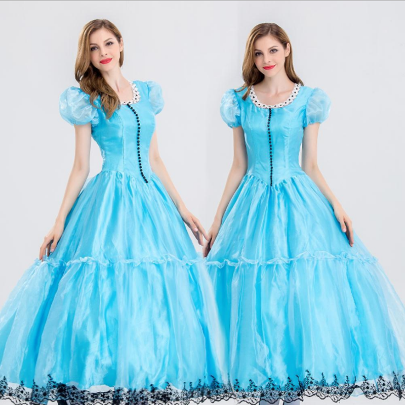 Halloween Alice Women Costume Princess Dress Halloween Fancy Party Blue Elegant Ball Gown Girl Alice Role play Dress