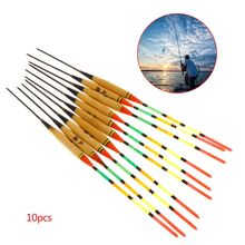 10 Pcs/Set Wooden Fishing Float Buoyancy Buoy Floating Reed Luminous Fluorescent Stick Tackle Professional Accessories